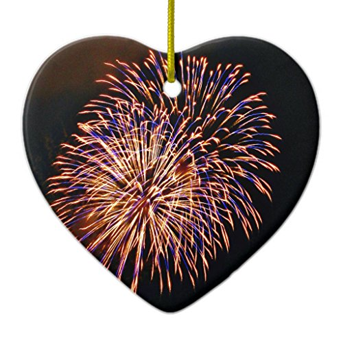 Zazzle Fireworks Ceramic Ornament Heart (Fireworks Ornament)