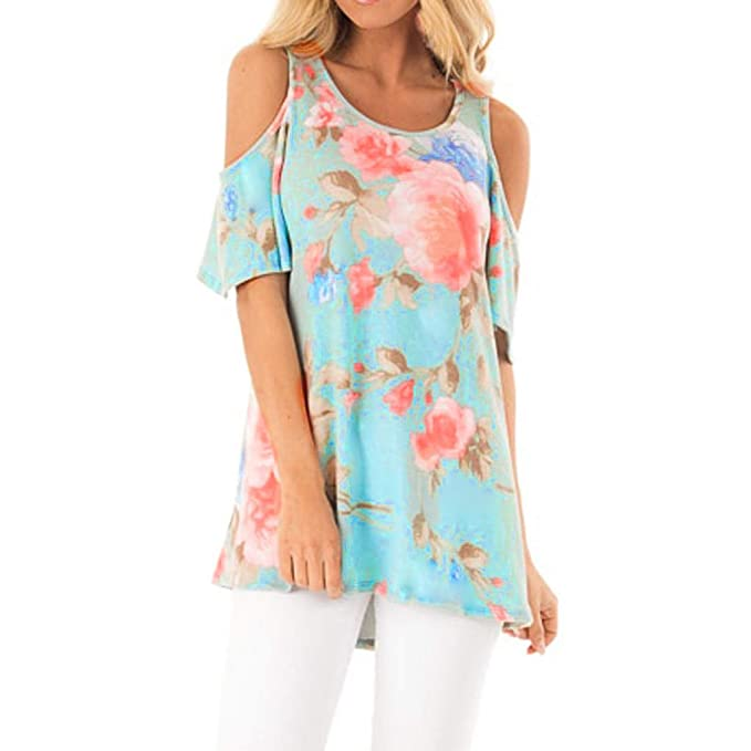 9921a0f1602828 Off-The-Shoulder Print T-Shirt Ladies Casual Short-Sleeved Fashion Loose.  Roll over image to zoom in. MEEYA Women s ...