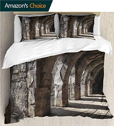 (Home 3 Piece Print Quilt Set,Box Stitched,Soft,Breathable,Hypoallergenic,Fade Resistant Patterned Technique King Quilt Set-Ancient Dark Shadows Stone Portico (68