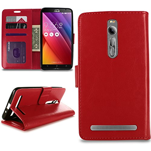 CoverON for Asus ZenFone 2 (5.5) Wallet Case [Executive Series] Synthetic Leather Flip Credit Card Phone Cover Pouch w/ Screen Protector - Red ()