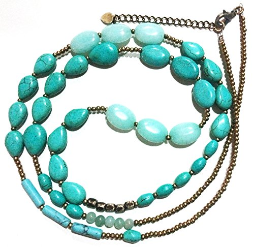 Bijoux De Ja Simulated Turquoise Howlite Strand Opera Necklace 34+3 Inches Extender