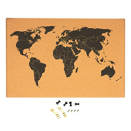 Cork Board Map of The World - Wall Mount Bulletin Board with Detailed World Map, Black Printed Frameless World Travel Map with Pins, 23.5 x 0.75 x 15.75 inches ()