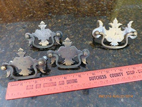 Pull Escutcheon - Genric 4 Vintage pulls Dresser Drawer Night Stand Door Salvage escutcheons (Bag 3SIL)