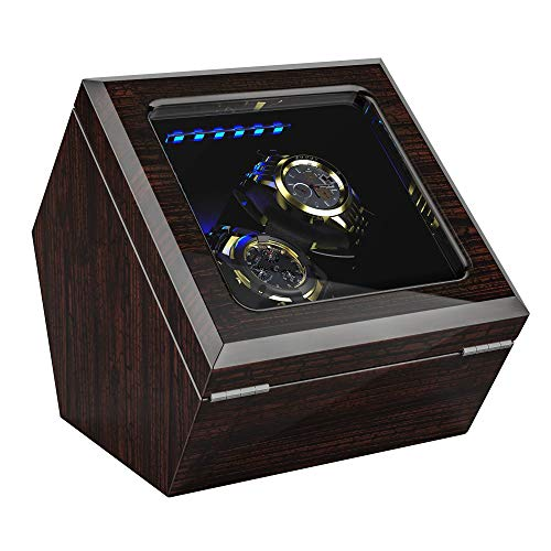 High End Double Watch Winder for Rolex with Soft Flexible Watch Pillows, Blue Led Light, Open and Shut Down Featured, Pine Bark Pattern, Two Extra Over Size Watch Pillows Included ()
