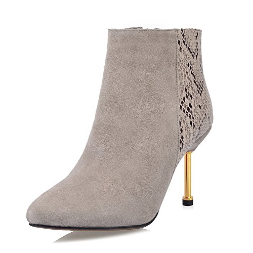 AmoonyFashion Womens Pointed-Toe Closed-Toe High-Heels Boots With Snake?Pattern and Thread Khaki HiECDDXtz