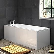1700mm Single Ended Bath Modern Bathroom Straight White Bathtub + Panel BL134 by iBathUK