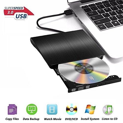 External DVD Drive, USB 3.0 Portable DVD Burner, Super Slim External Optical Drive, CD/DVD-RW Writer for MacBook Pro Laptop/Desktops Win 7/8.1/10 and Linux OS by Pt.GoDi