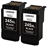 LEMERO Remanufactured Canon PG245XL 245XL Ink Cartridge (2 Black) for use in Canon Pixma MX492 MG2522 MG2922 MG2920 MG2520 MG2420 MX490 MG2525 with Ink Level Chip
