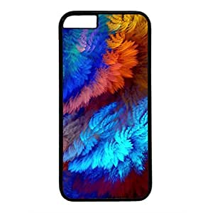 Hard Back Cover Case for iphone 6 Plus,Cool Fashion Black PC Shell Skin for iphone 6 Plus with Colorful Shaggy Bulrush