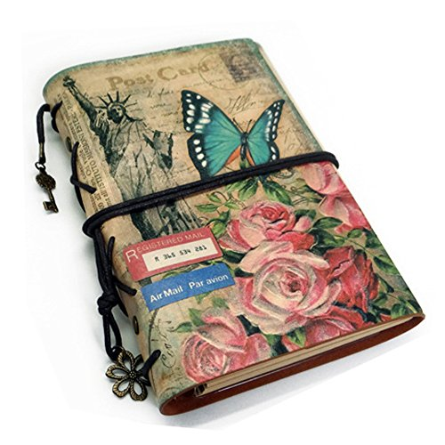 Loghot Retro Soft PU Imitation Leather Cover Loose-Leaf Journals Traveller's A6 Journal Refillable Notebook (Butterfly Flower) (Imitation Leather Zipper)