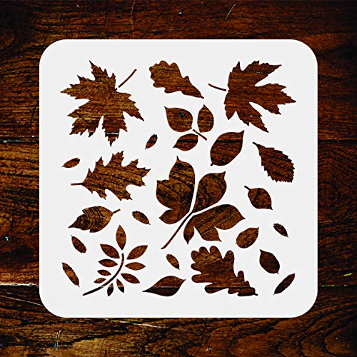 (Leaves Stencil - 6.5 x 6.5 inch - Reusable Autumn Fall Leaf Flora Wall Stencil Template - Use on Paper Projects Scrapbook Journal Walls Floors Fabric Furniture Glass Wood etc.)