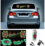 HMT 12V車用 90*25cm LED サウンドシート イコライザー フィルム/ミュージック・リズム・ランプ/音楽 に楽しく反応するLED 内蔵 イコライザー フィルム/車内装飾用LEDイルミネーションライト