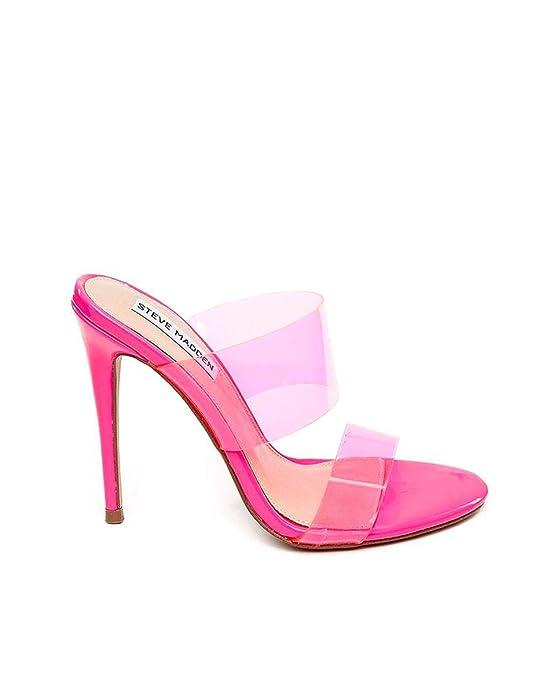 Sandalias Steve Madden con tiras de plástico transparentes rosa neón