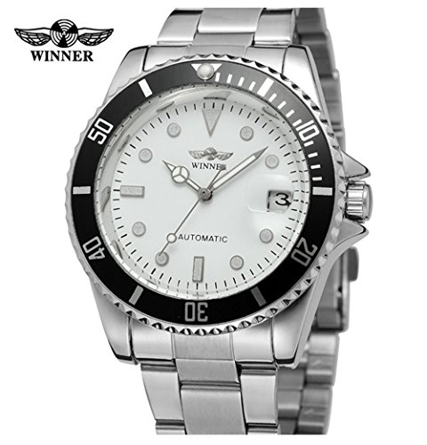 Men Automatic Mechanical Watches Winner Luxury Brand Full Steel Waterproof Mens Watches With Calendar (Silver ()