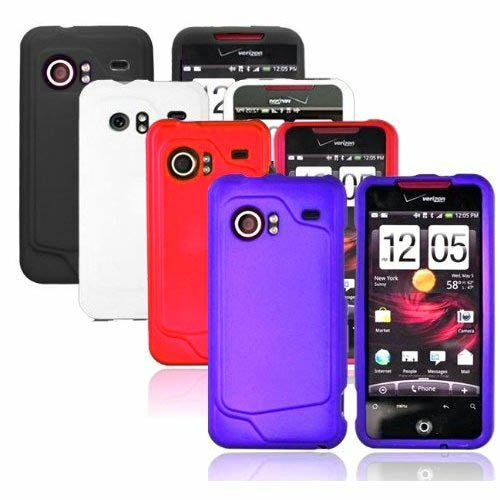 4-in-1 Combo Colorful Rubberized Protector Skin Case Cover Accessories for HTC Droid Incredible ADR6300