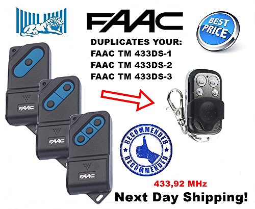 FAAC compatible remote clone with TM 433DS-1, TM 433DS-2, TM 433DS-3, fixed code 433, 92MHz