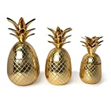 Two's Company Warm Welcome Set of 3 Golden Pineapple Canisters w/ Lid