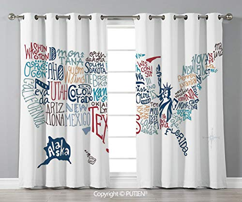 Grommet Blackout Window Curtains Drapes [ USA Map,Culture Tourist Names of American Town in Colorful Artful Typography City Design Decorative,Multicolor ] for Living Room Bedroom Dorm Room Classroom K]()