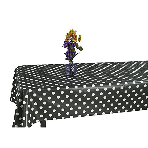 Ottomanson Vinyl Tablecloth Polka Dot Design Indoor & Outdoor Non-Woven Backing Tablecloth, 55