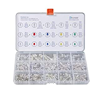 ELEGOO 3mm and 5mm Diffused and Clear Assorted LED Kit 5 Colors with UV, RGB CA, Fast Flashing for Arduino (Pack of 350)