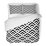 SanChic Duvet Cover Set Chinese Window Tracery Pattern Black Squares Decorative Bedding Set with Pillow Sham Twin Size