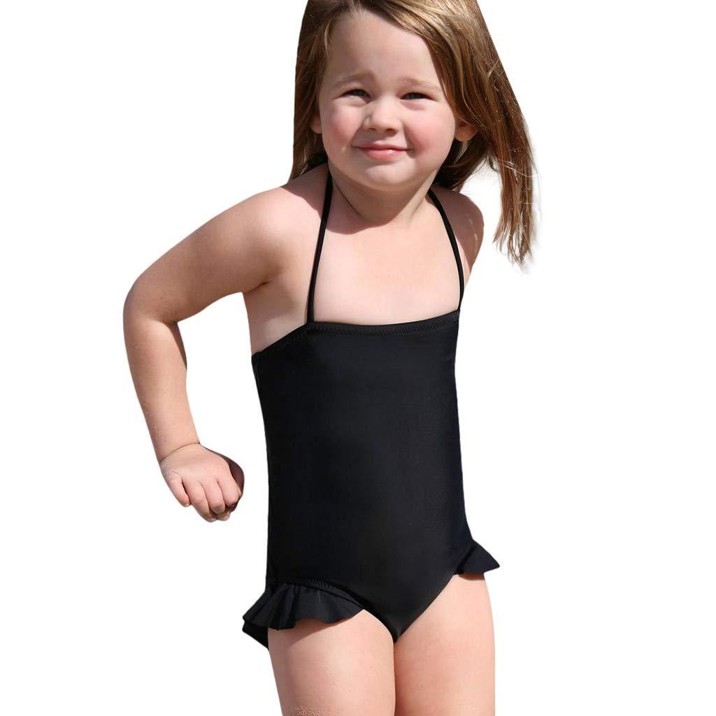 Cathy Clara Children Kids Girls Ruffle Bikini Beach One Piece Swimsuit+Headbands Set Outfit