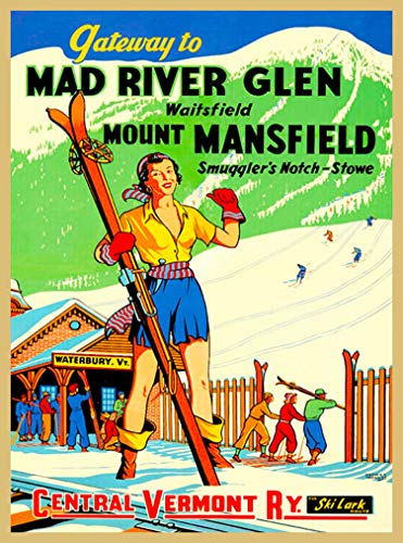 A SLICE IN TIME Gateway to Mad River Glen Ski Mount Mansfield Smugglers' Notch Central Vermont Railway Vintage Railroad United States Travel Advertisement Art Poster. 10 x 13.5 inches