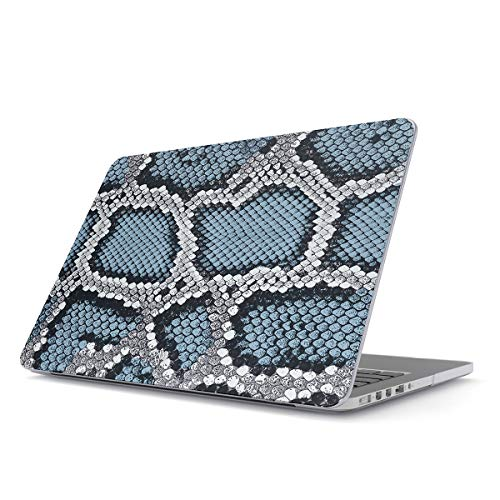 (BURGA Hard Case Cover Compatible with MacBook Air 13 inch Case Release 2018-2019, Model: A1932 with Retina Display and Touch ID Blue Snake Skin Print Leather Pattern)