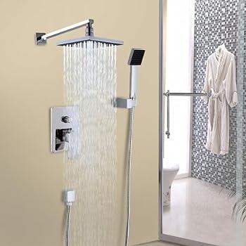 Rainfall Shower Head Arm Control Valve Handspray Shower Faucet Set 8 In.    Chrome