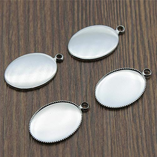 Pendant Trays - 10pcs 6 Colors Fit 13x18/18x25mm Oval Glass Cabochon Sawtooth Edge Base Setting Charms Pendant Tray