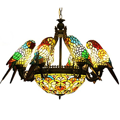 FUMAT Parrot Tiffany Chandeliers 6 Heads Stained Glass LED E26 Ceiling Fixtures 110V Pendant Lamp (Pendant Light Glass Rose)