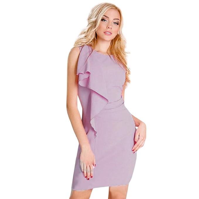 28f1213e06c8ae Damen Kleider, PAOLIAN Damne Ärmellos Figurbetontes Kleid Solide Elegant  Knielang Abendkleid Cocktailkleid Prom Partykleid Sommerkleid
