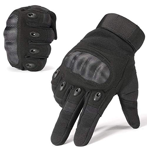 Dream Hunter Tactical Gloves, 1 Pair Touch Screen Military Rubber Hard Knuckle Tactical Gloves for Men Full Finger Outdoor Gloves for Cycling Motorcycle Hunting Shooting Hiking Camping (L, Black)