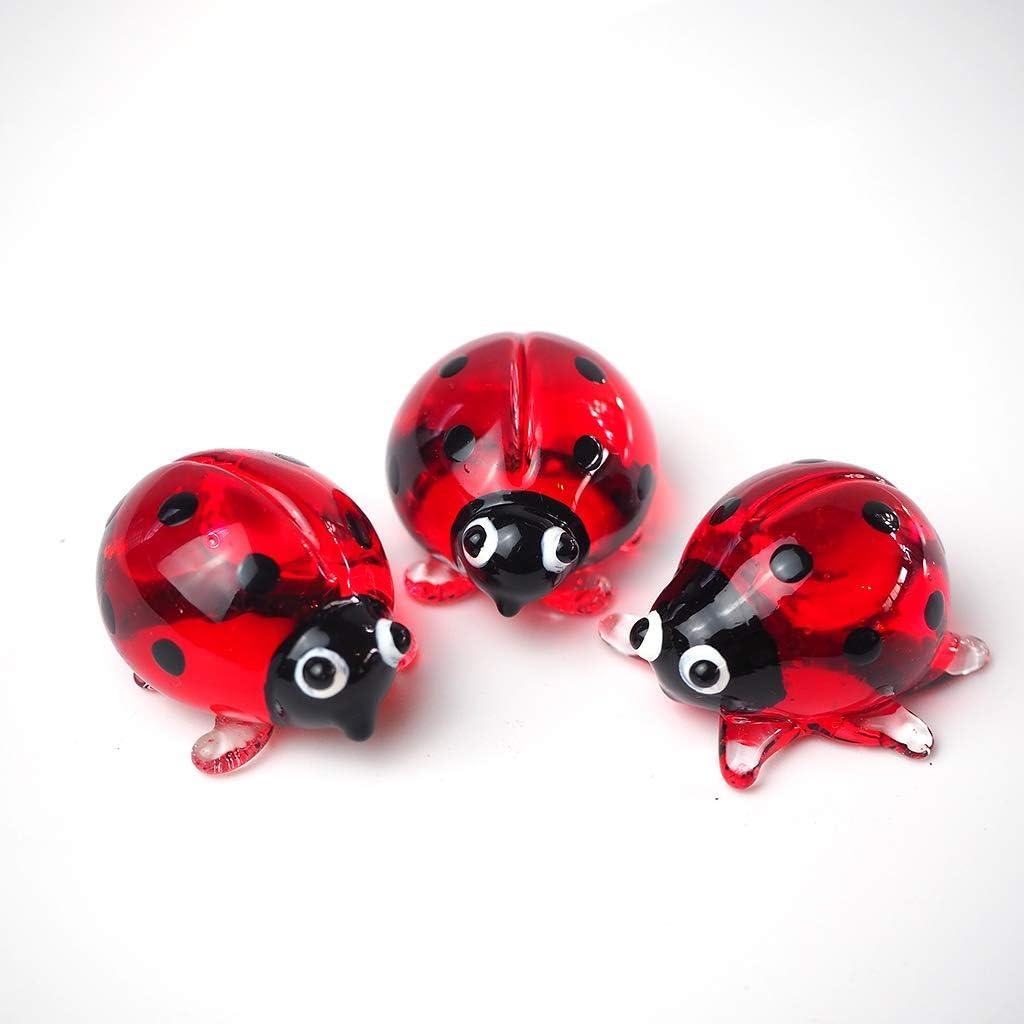 ZOOCRAFT Ladybug Figurine Red Cute Ladybird Blown Glass Insect Terrarium Gift Garden Decor Set of 3