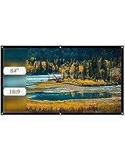 ASHATA zwijany ekran do projektora, ekran projekcyjny 16: 9 Przenośny składany ekran do projektora, odpowiedni do filmów projekcyjnych do kina domowego na zewnątrz/wewnątrz/na kempingu (84 cale)