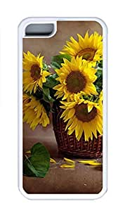 iPhone 5C Case, Personalized Custom Rubber TPU White Case for iphone 5C - Sunflower Cover
