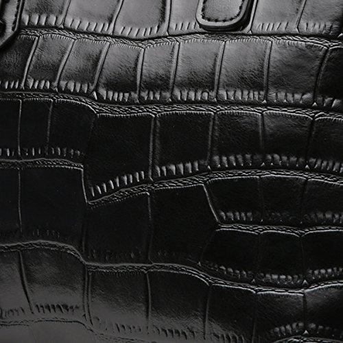 Sac Crocodile Fourre Poignée noir Supérieure Vintage Motif Classique Satchel Main Femmes Sacs tout À Bandoulière qwBxTnIH