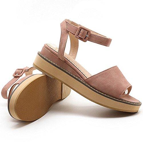Coolcept Women Fashion Ankle Strap Sandals Open Toe Wedge Heel Slingback Shoes Pink oirowa3wr