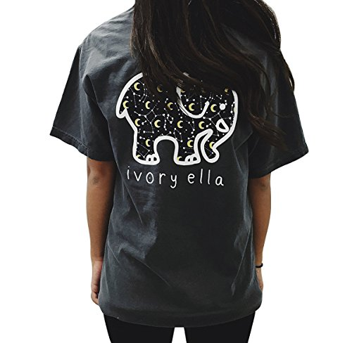 MUMUSEN Elephant Graphic Print T-Shirt Women Casual O