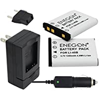 ENEGON Replacement Battery (2-Pack) and Charger Kit for Olympus LI-40B LI-42B LI-40C work with Olympus D-630 720 725 IR-300 FE-150 160 190 220 230 X-Series and More (100% Compatible with Original)