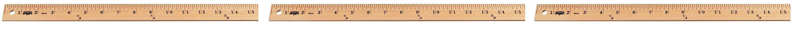 School Smart Wood Yardstick, Plain Ends, 36 Inches, Natural (Тhrее Pаck)