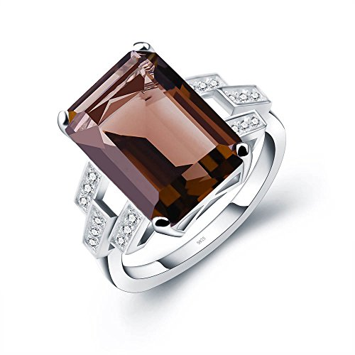 ANGG 6ct 925 Sterling Silver Ring for Women Smoky Quartz Engagement Wedding Jewelry