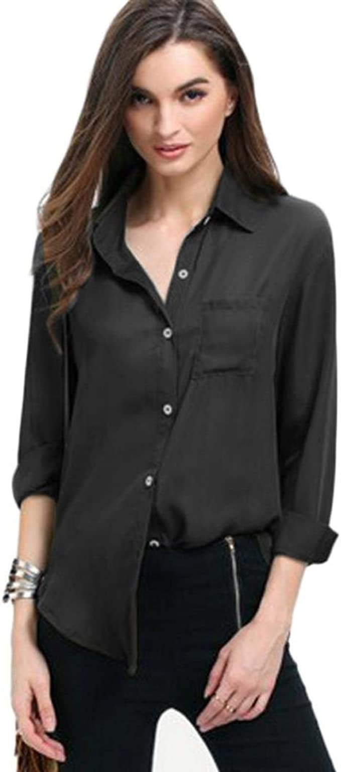 Long Sleeve Pockets Tops Solid Turn-Down Collar Blouse Casual Loose Button Shirts F/_topbu Button Down Shirts for Women