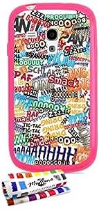 Carcasa Flexible Ultra-Slim SAMSUNG I8190 de exclusivo motivo [Comics] [Rosa] de MUZZANO  + ESTILETE y PAÑO MUZZANO REGALADOS - La Protección Antigolpes ULTIMA, ELEGANTE Y DURADERA para su SAMSUNG I8190