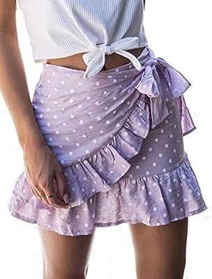 YNC Fashion Women's Summer Casual Polka Dot Flare Short Mini A Line Skirt