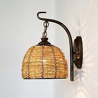 Biubiuji Applique Murale Lampe En Osier Country Garden Bed