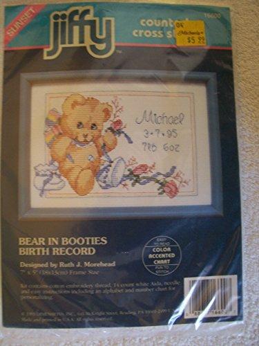 Dimensions Jiffy Bear In Booties Birth Record Mini Cntd X-Stitch Kit