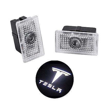 Foonee Tesla Modelo 3 Proyector de luz LED para Puerta de Coche, lámpara de Bienvenida con Logotipo, no Requiere taladros (2 Unidades)