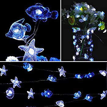 HDNICE Ocean Theme String Lights Seashell Sealife Battery Operated 8 Lighting Modes Decorative Light Strings for Bedroom Nursery Indoor Outdoor Decorations (Cold White 13.85 Ft 40 LED)