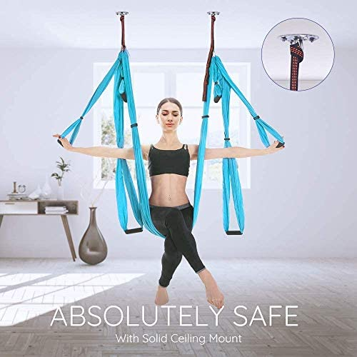 Youwise Aerial Yoga Swing Set with Carry Bag Professional Yoga Flying Strap Sling 4 Steel Carabiners Home Yoga Hammock for Pilates Body Shaping Green 6 Handles